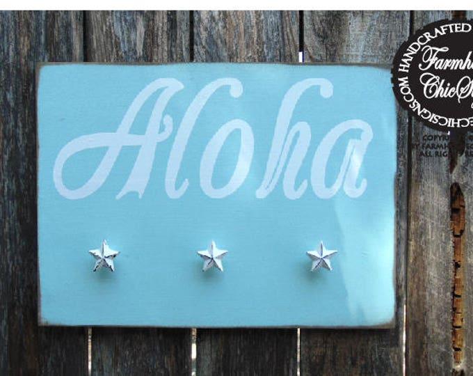 aloha, aloha sign, aloha decor, coat hanger, coat hooks, hat hooks, beach decor, beach home decor, aloha beach wall decor, aloha hat hooks