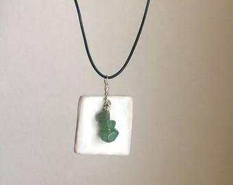Ceramic Pendant and glass bead neacklace, blue / green, Soda Fired handmade
