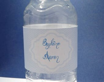 Polka dot water bottle label