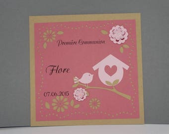 First communion flowers and birdhouse card