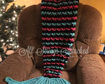 Crochet Mermaid Tail PATTERN, Crochet Mermaid Tail Blanket Pattern, Instant Download, 4 sizes - Toddler, Child, Teen / Small Adult, Adult