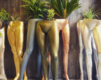 Upcycled female mannequin leg indoor & outdoor use planter