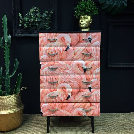 Mid century flamingo chest of drawers