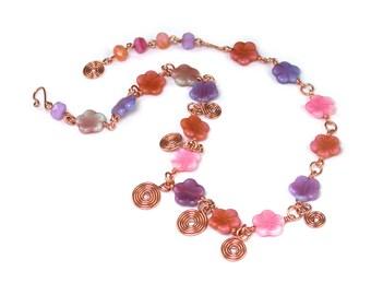 Pink Rose Violet Desert Flower Link Necklace.