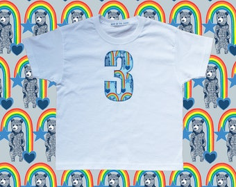 KIDS BIRTHDAY T-SHIRT - Rainbow bears blue