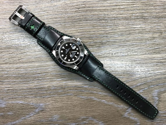 Black full bund strap, Handmade,  Leather Cuff watch band, brogue pattern watch strap, 20mm, Bespoke, leather watch band, Free shipping