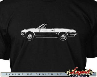 Peugeot 504 Convertible Cabriolet T-Shirt for Men - Lights of Art - Multiple colors available, Size: S - 3XL, Great French Classic Car Gift