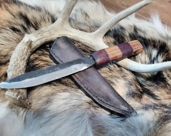 Handforged Knife with Zebrawood and Purple Heart Handle