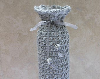crochet wine bottle cover with silver thread and bright beads, handmade wine cozy for that special occasion, anniversary or wedding present