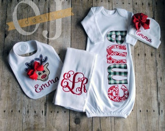 Babies First Christmas - Personalized Gown - Burp Cloth - Red - Christmas Green Plaid - Bow -Bow Rudolph Bib - Complete Newborn Gift Set