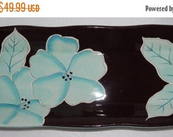 ON SALE GATES Ware Laurie Gates Design Large Rectangular Serving Tray Platter Dinnerware Light Blue Exterior with Brown & Light Blue Floral