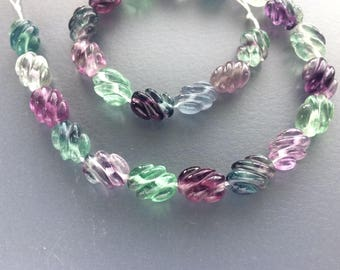 Full Strand Natural Rainbow Fluorite Corrugated Flat Oval Beads
