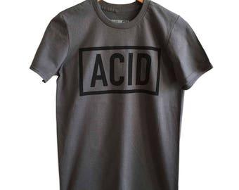 ACID Text Print T-Shirt, Charcoal