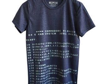 C64 Commodore BASIC Code T-Shirt. Retro Computer shirt, retro gaming print Tee. Geek gift, programmer gift, developer gift, coder.