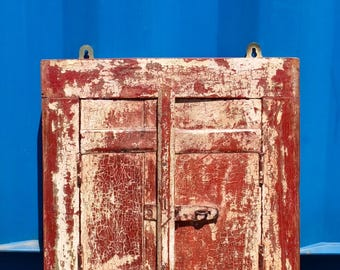 Antique Painted Wooden Shutter from Rajasthan, India