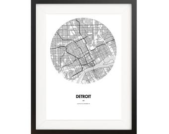 Detroit Map Poster - 18 by 24 inch Map Print
