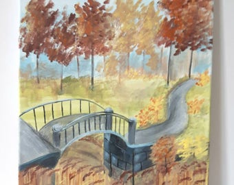 Fall Colours, Landscape painting on canvas, Autumn Landscape Painting on Canvas
