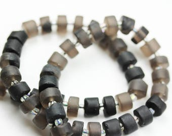 8.5*5-6mm One full strand Matte Smoky Quartz Gemstone Rondelle Strand, hole 1mm-GEM1340