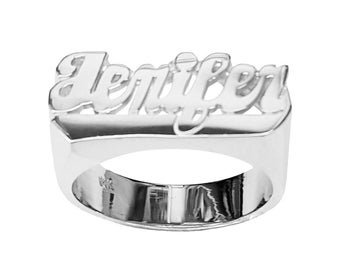 SNS107 9mm Size Silver Shinny Finished Script Letter with Straight Tail Name Ring