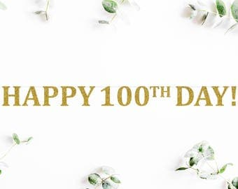 HAPPY 100TH DAY banner (C5) - glitter / banners / party decor / photo backdrop / baby / baek il janchi / 백일 잔치