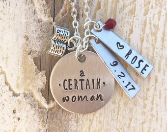 Personalized Custom Hand Stamped Necklace with Name and Date Plates