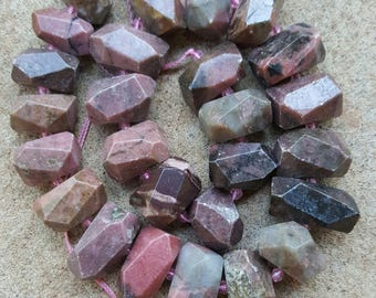 "Natural Rhodonite Nugget Beads, 15~25mm x 13~17mm - 16"" Strand"
