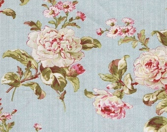 Blue Floral Fabric, Cottage Rose Fabric, Red Rooster Fabric, Pink Fabric, French Country Fabric