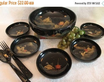 SALE Vintage Japanese Wooden Salad Set in Black Lacquer Finish and Hand Painted Scenes