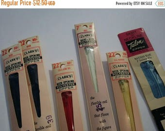 SALE 25% OFF 6 Vintage Zippers, 70s Zippers in Package by Clarks and Talon, Vintage Sewing Supplies, New Old Stock