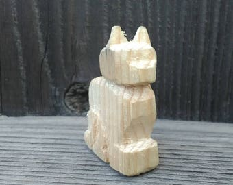 Miniature Cat Hand-Carved Figurine