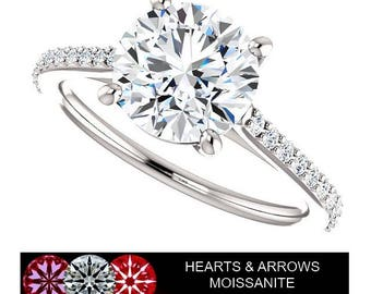 2.20 Carat (8mm) Round Brilliant Moissanite Ring in 14K Gold (HEARTS & ARROWS)
