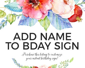 ADD ON // Add Name to Birthday Poster