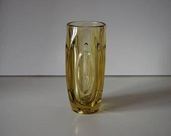 Yellow lens bullet vase Rosice Sklo Union, Rudolf Schrötter