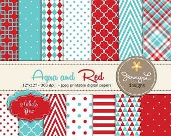 50% OFF Aqua Blue and Red Digital Papers, Red and Turquoise for Wedding, Birthday, Baby Shower, Communion, Baby Baptism, Birth announcement,