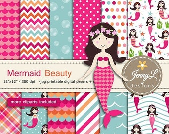 50% OFF Mermaid digital papers and clipart SET,  Under the Sea, Seaweeds, scales, Bubbles for Digital Scrapbooking, birthday invitations Pla