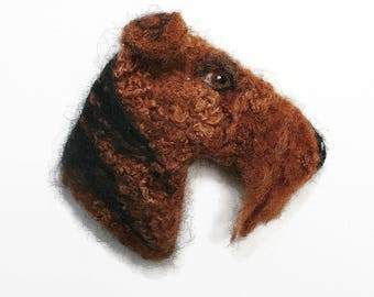Airedale Terrier Picture Pet Portrait -  needle felted Airedale Terrier - Father's Day gift - gift for dog lover