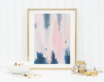 Large Abstract art poster - blush pink and blue art - wall decor