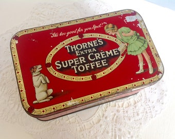 Vintage Thorne's Super Creme Toffee Tin 1920's Girl and Dog