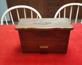 Vintage drawer organizer / faux wood drawer / lerner organizer, recipe box, desk organizer,  sewing box