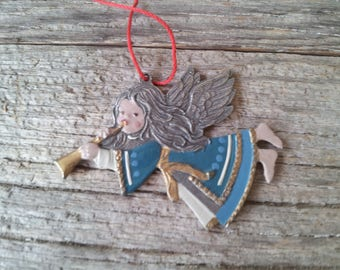 Vintage Metal Angel with Trumpet Christmas ornament