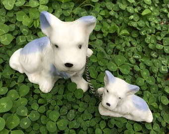 Ceramic Dog and Puppy on Chain, Figurines, Japan