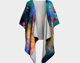 Her Heart Shines Through/Draped Kimono Robe Colorful Hearts Open Wrap Loose top Womens Long Top Summer clothes Printed Robe Nursing Mom Love
