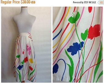 ON SALE 1970s Cotton Floral Skirt | 1970s floral skirt | 1970s rainbow skirt | 1970s white cotton skirt | 70s rainbow floral skirt | 70s sma