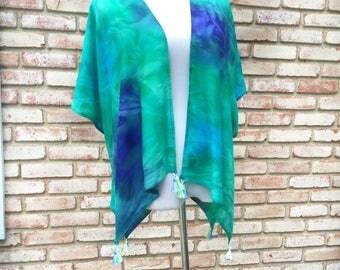 Kimonos, Kimono Cardigan, Gift for Her, Festival Kimonos, Bohemian, Shibori Tie Dye, Swim Beach Cover, Tassel Fringe Kimono, Teal Green Blue