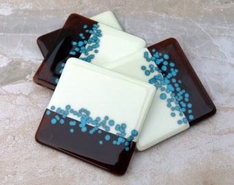 4 fused glass coasters, Vanilla Cream, Amber, Turquoise Fused Glass Coasters