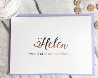 Rose Gold Foil Effect Personalised Will You Be.... Wedding Day Cards