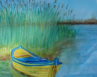 Watercolor Painting, Original Watercolor, Boat Painting, Watercolor Boat Painting, Original Watercolor Canoe Painting
