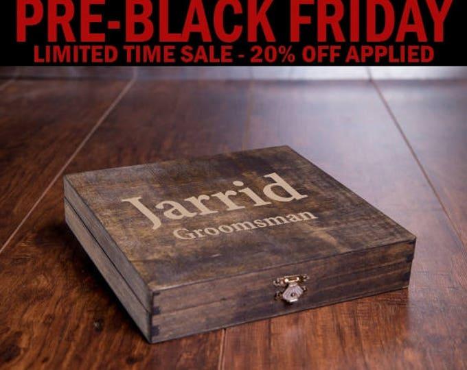 Rustic Cigar Box, Groomsmen Cigar Box, Best Man Gift, Men's Man Gift Box, Wood Engraved Name, Unique Rustic Bridal Favor