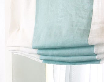 Blue and White 100% Linen Relaxed Roman Shade