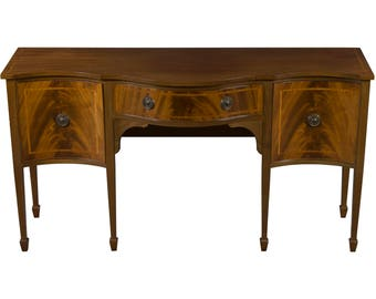 Antique Serpentine Front Light Mahogany Sideboard